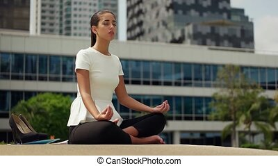 Business Woman Yoga Lotus
