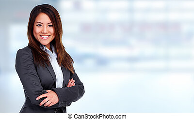Business woman. - Young beautiful Business woman over blue ...