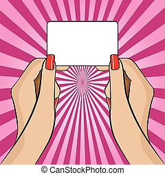 business, womans, illustration, possession main, carte
