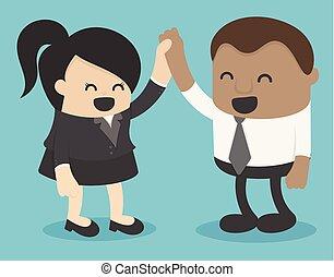 Business women and african businessmen shake hands congratulations