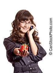 Business women calling by phone and show you gift.