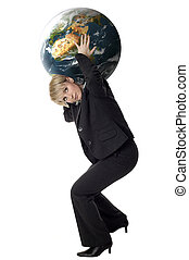 earth - business women carrying planet earth on white ...