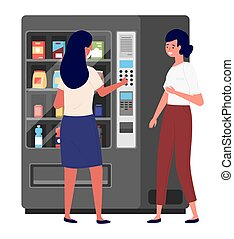 Business women communicating during the coffee break. Vending or food machine on background