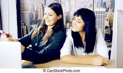 Business women having fun doing sel