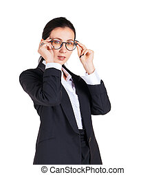 Business women hold glasses with both hands While looking ahead.