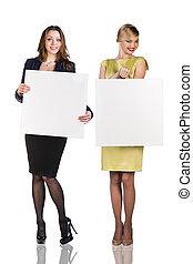 Business women hold portrait