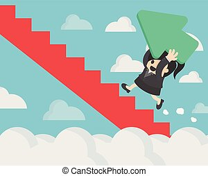 Business women holding a green arrow up the red stairs through the clouds, Green Arrow represents the rise of stocks.