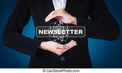 Business women holding posts in NEWSLETTER. Can be used in advertising.