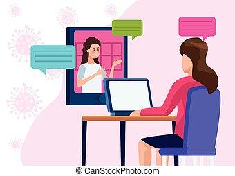 business women in meeting online reunion