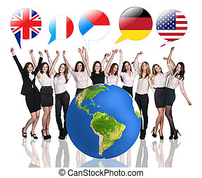 Business women near big earth and flag bubbles. Elements of this image furnished by NASA