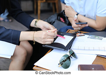 Business women on agreement and credit card