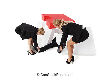 Business women saving colleague