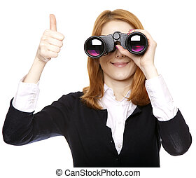 Business women seeking with binocular and show OK symbol. Studio shot.