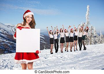 Business women selebrating christmas