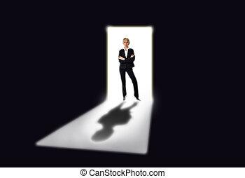women - business women standing by the open door concept