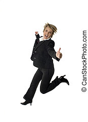 business women success expression jump on white