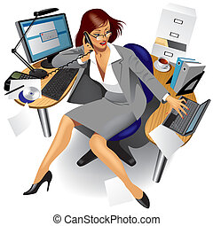 Business women - Vector image of a business women in office