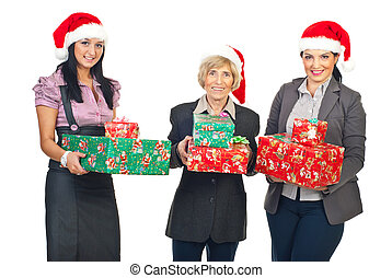 Business women with Christmas gifts