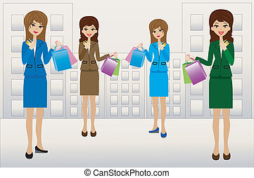 business women with credit cards