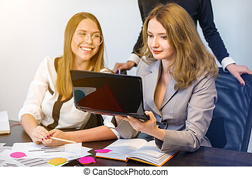 business women working in office