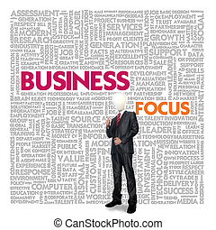 Business word cloud for business and finance concept, Business Focus