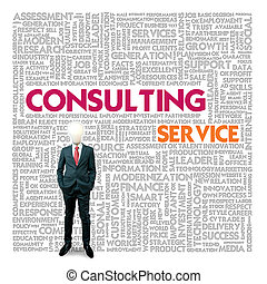 Business word cloud for business and finance concept, Consulting service
