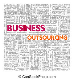 Business word cloud for business concept, Outsourcing