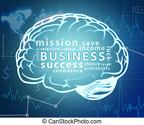 Business word cloud in contour of brain