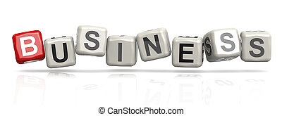 Business word concept on cube block isolated