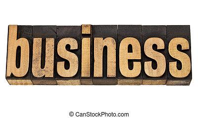 business word in letterpress type