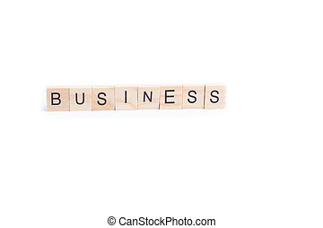BUSINESS word on square tile concept isolated on white background