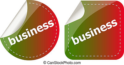 business word on stickers button set, label
