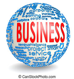 Business word on the sphere