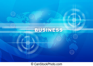 Business word on world map
