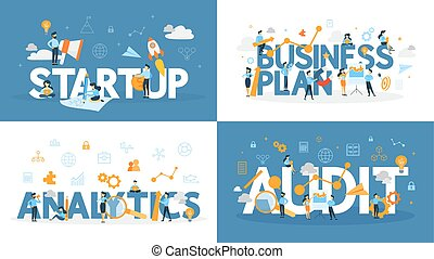 Business word set. Audit, analytics and plan