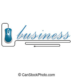 Business word with computer mouse