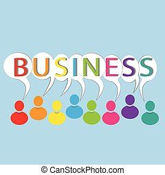 Business words colorful people