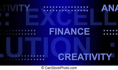 business words in motion on blue background