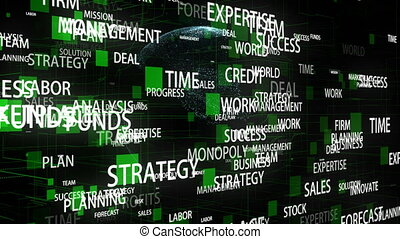 Business Words rotating around digital Earth in 3d space