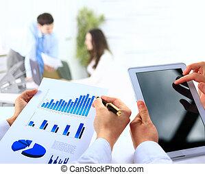 business, work-group, analyser, financier, données, dans, bureau