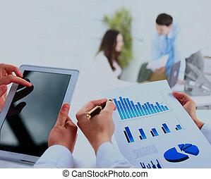business, work-group, analyser, financier, données, dans, bureau.