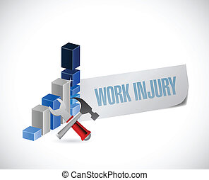 business work injury graph illustration design over a white ...