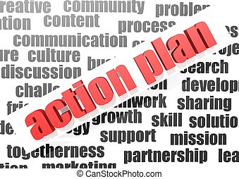 Business work of action plan - Rendered artwork with white...