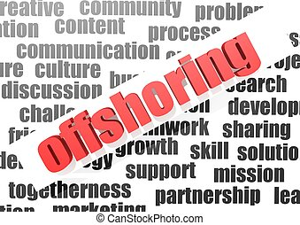business work of offshoring - Rendered artwork with white...