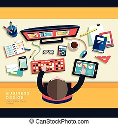 work place concept in flat design - business work place ...