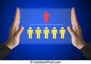 Business Workforce - Business Hand with Simple Organization ...
