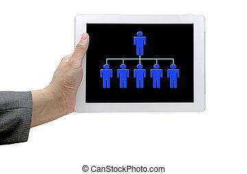 Business Workforce - hand hold online organiztion chart on...