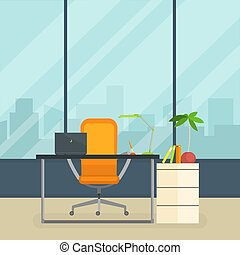 Business Workplace, Modern Interior of Empty Office Room with Table and Window Vector Illustration