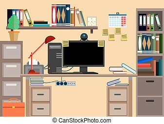 Business workplace with office things, equipment, objects.