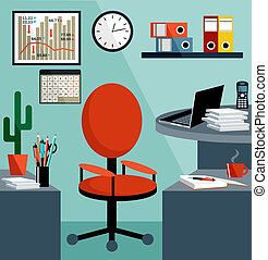 Business workplace with office things, equipment, objects. ...